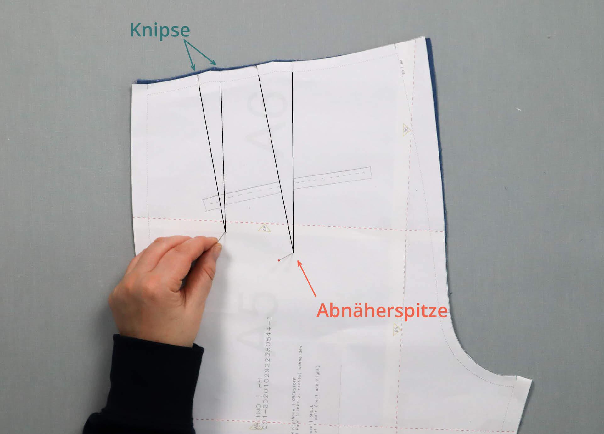 Abnäher Ende mit Nadel durch Schnittmuster zum Übertagen auf Stoff durchstechen