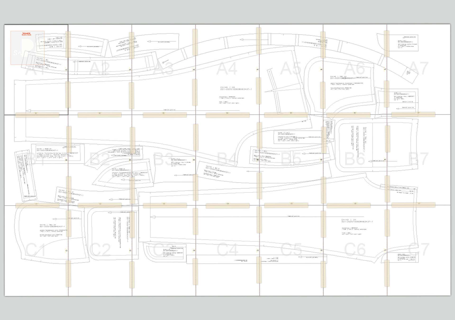 komplett mit Tesa zusammengesetztes Schnittmuster aus 21 A4 Seiten für eine Chino Masshose