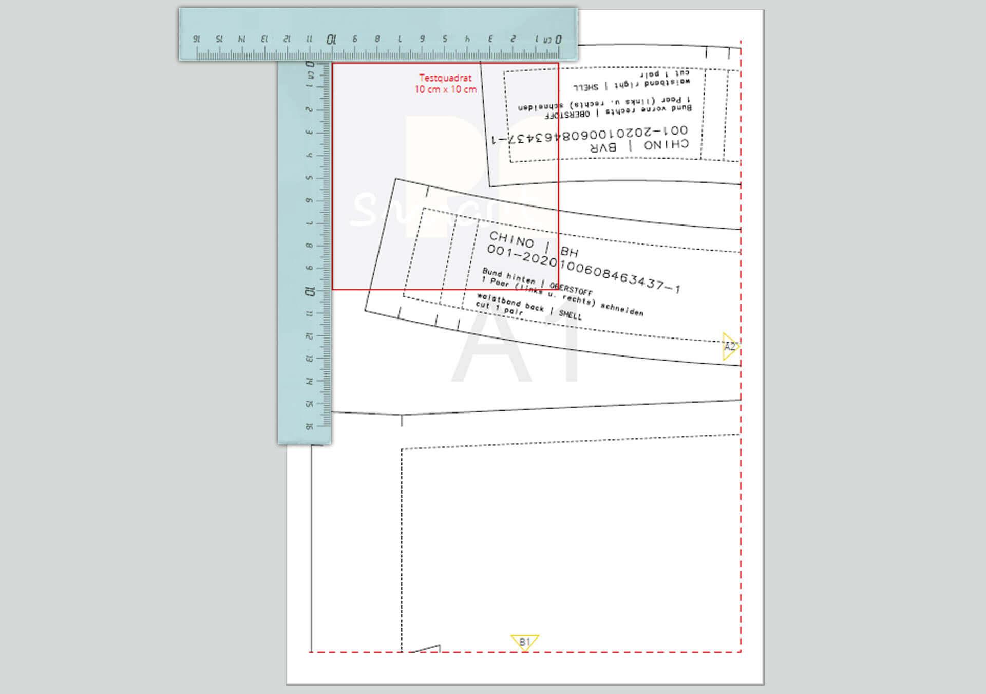 Nachmessen von Länge und Breite des Testquadrates zur Maßstab Kontrolle