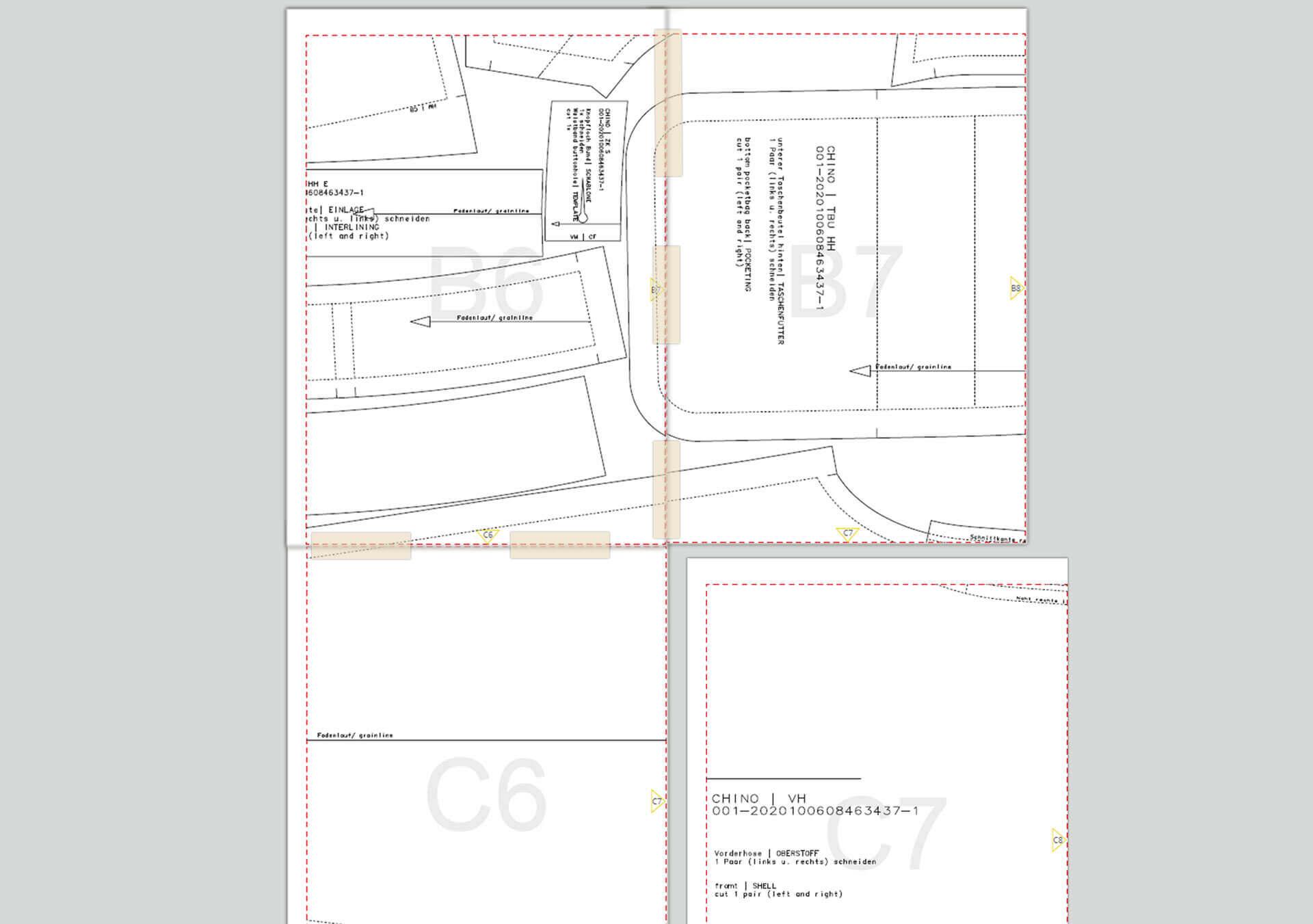Zusammensetzen der Schnittmuster PDF Seiten auf Folgeseite mit Klebestreifen