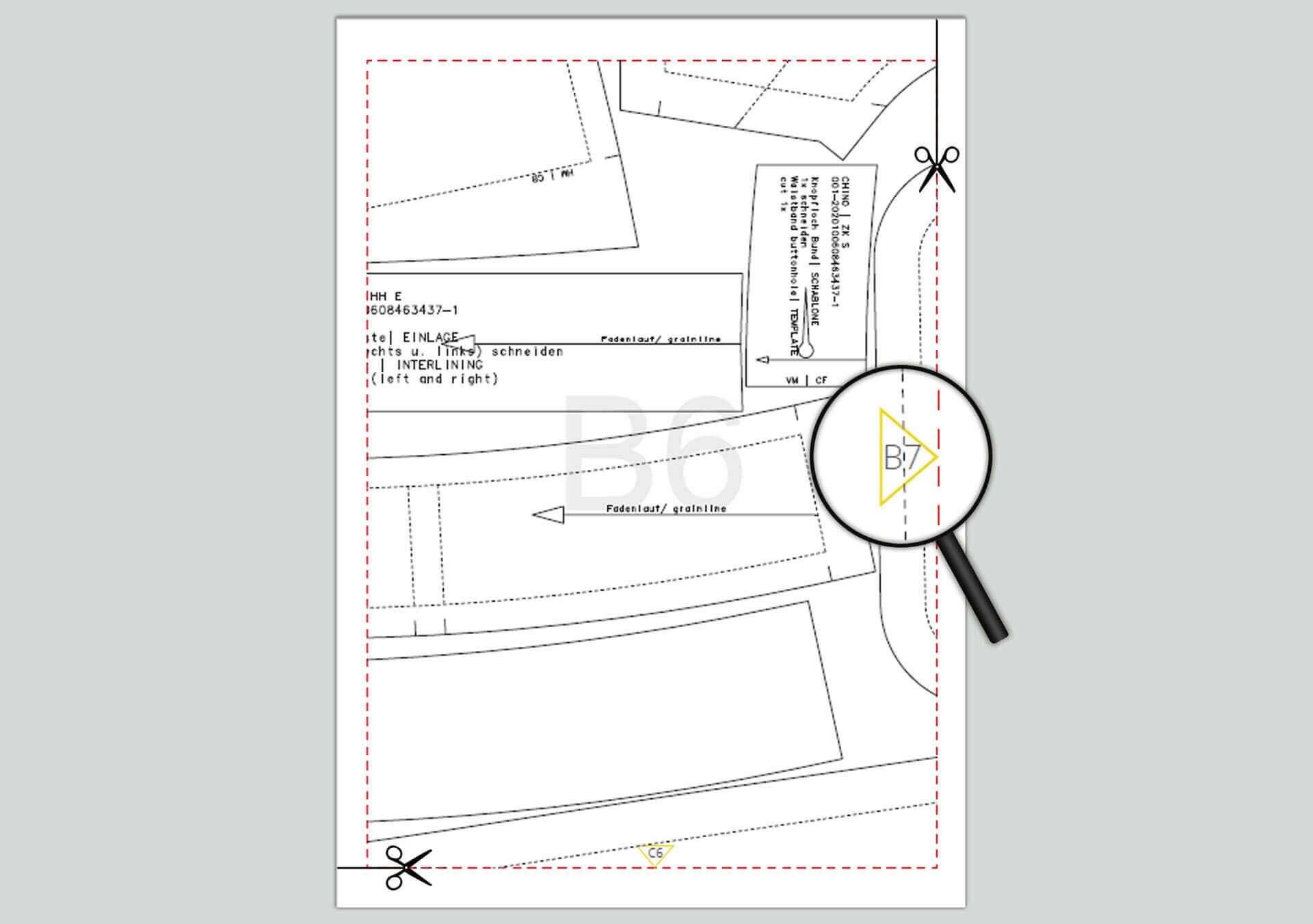 unteren und rechten Rand der PDF Schnittmuster Seiten beschneiden