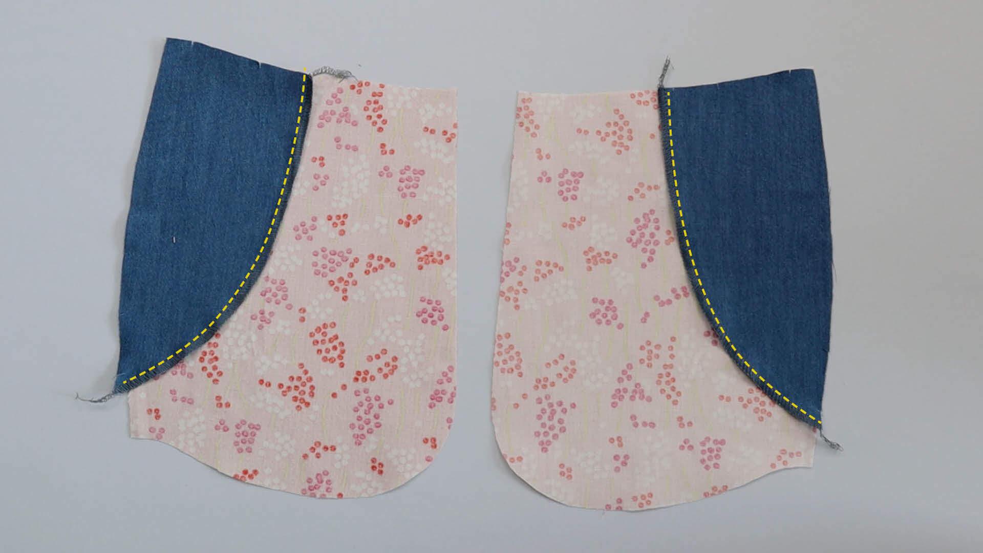 Taschenbelege auf untere Taschenbeutel steppen