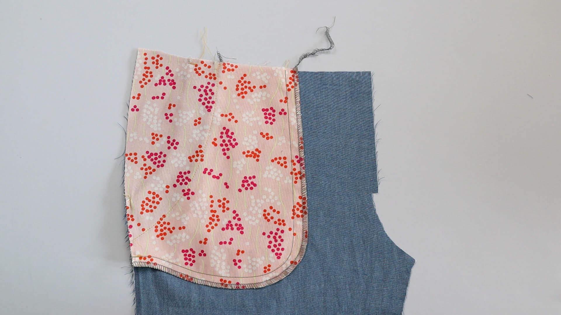 zusammengenähter Taschenbeutel mit versäuberter Schnittkante