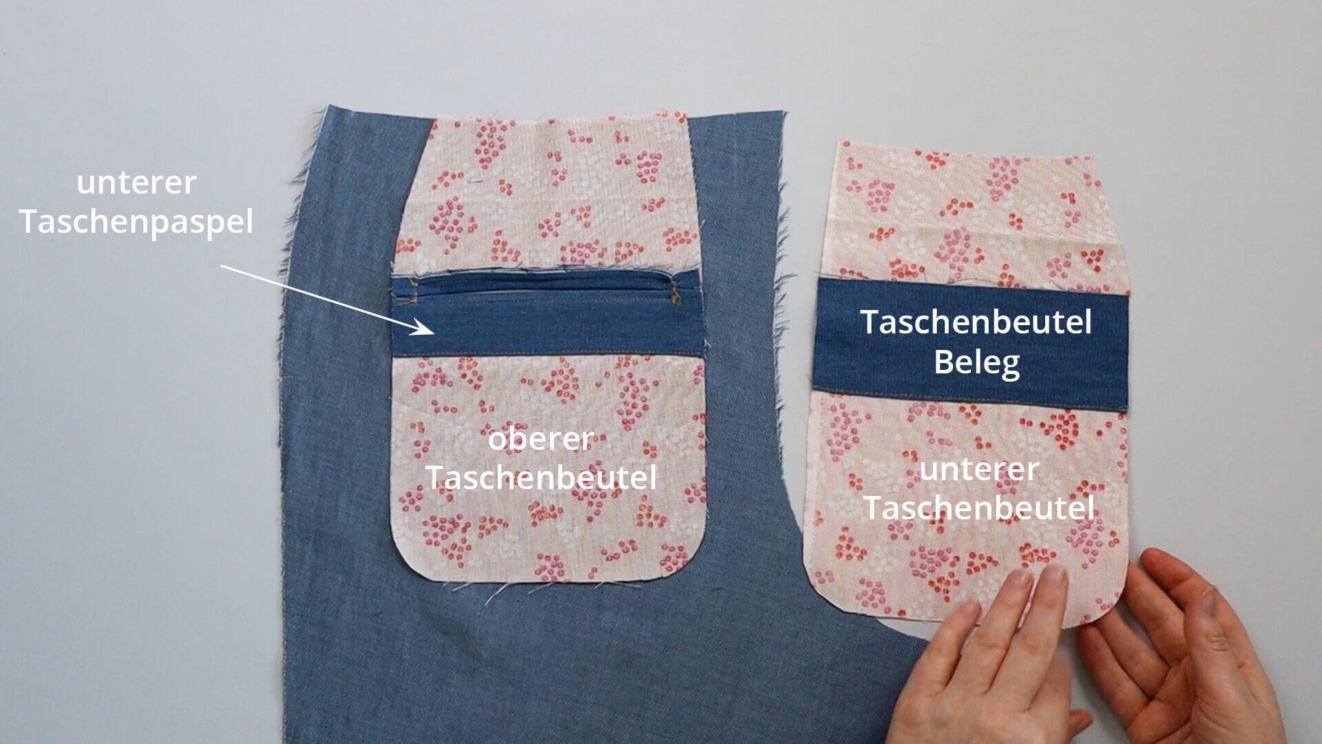 Hosentasche mit Doppelpaspel selber nähen-Taschenbeutel vor dem Verbinden