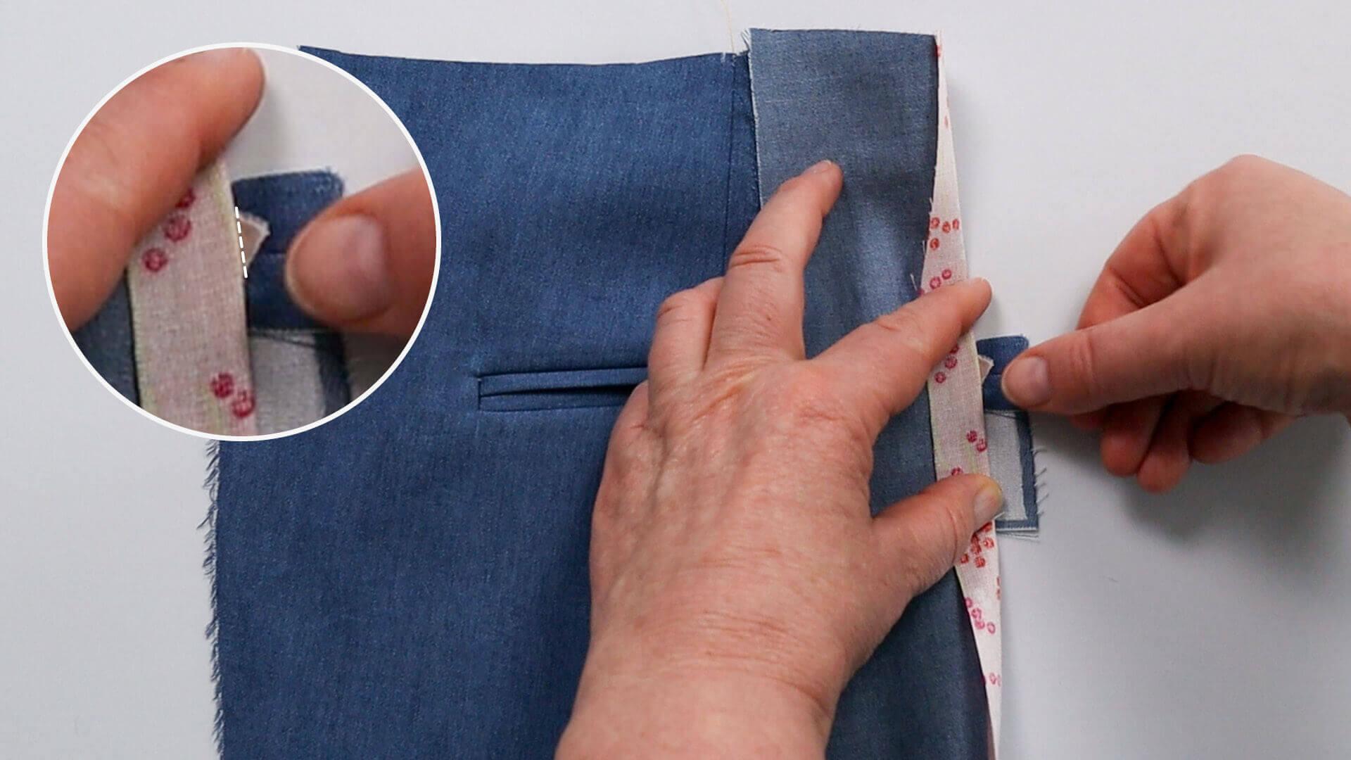 Anleitung Doppel Paspeltasche nähen- seitliche Tascheneinschnitte abnähen
