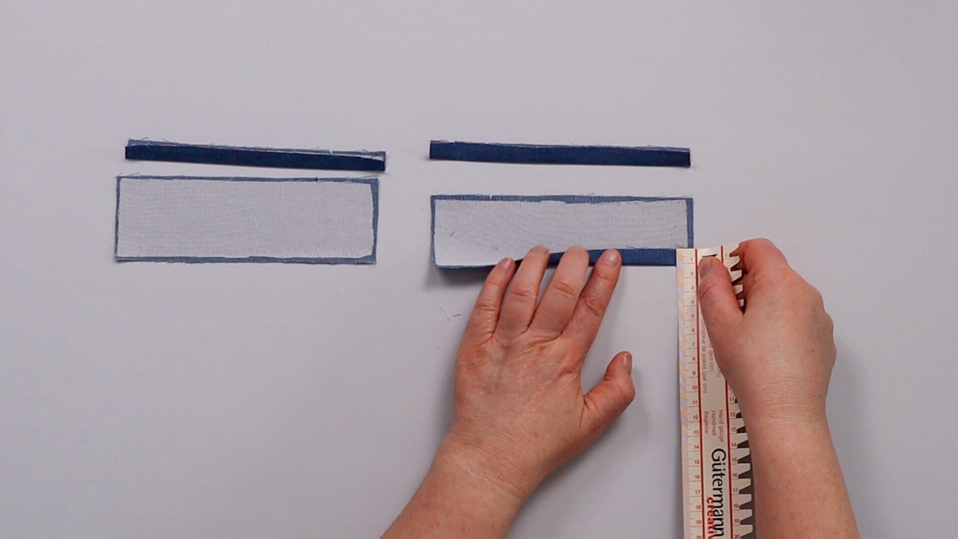 Nähanleitung Paspeltasche- Taschenpaspel fixieren und umbügeln