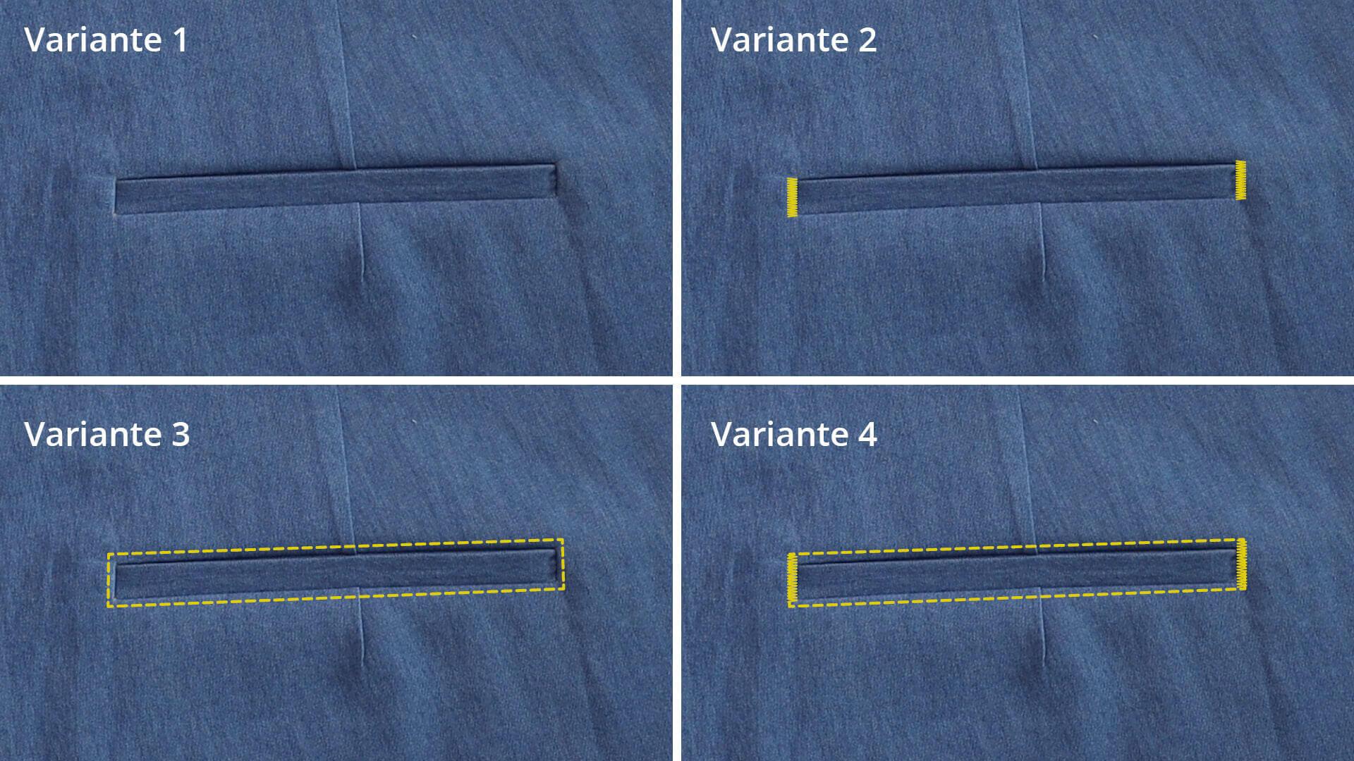 4 Designvorschläge für die Gestaltung der Paspeltasche beim Hosentasche selber nähen
