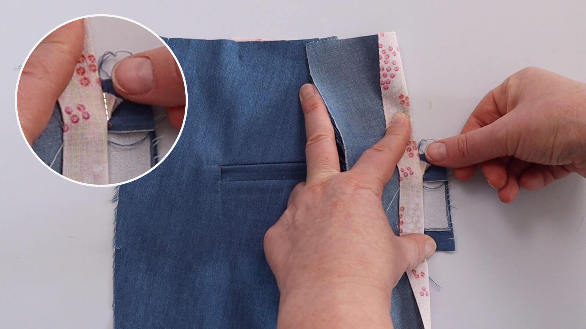 seitliche Taschenecken abnähen bei Nähen einer einseitigen Hosen Paspeltasche