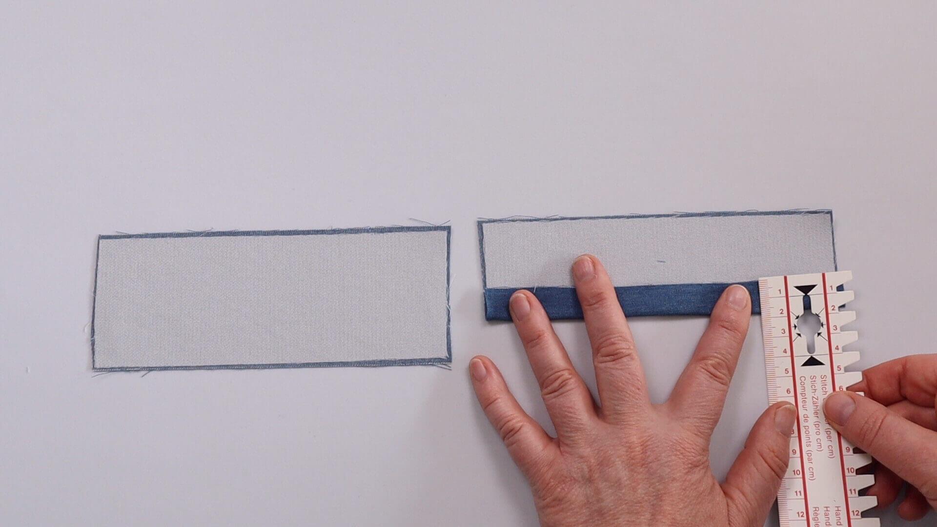Hosentasche selber nähen-Taschenpaspel fixieren und umbügeln