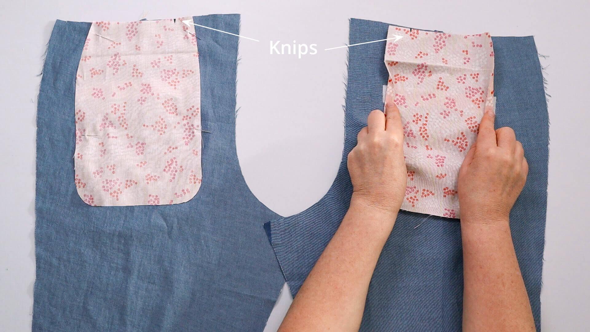 Hosentasche selber nähen-oberen Taschenbeutel auf Hinterhose platzieren