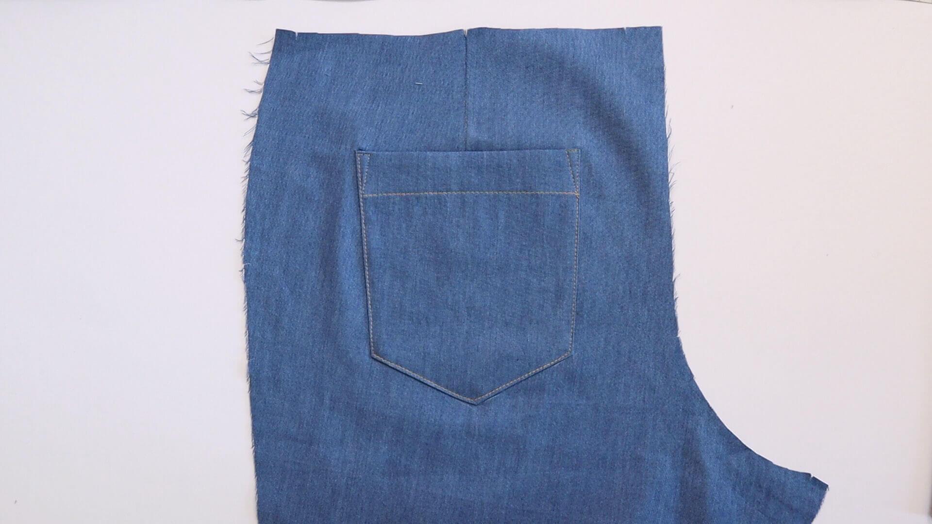 aufgesetzte Hosentasche selber nähen-fertig aufgesteppte Tasche