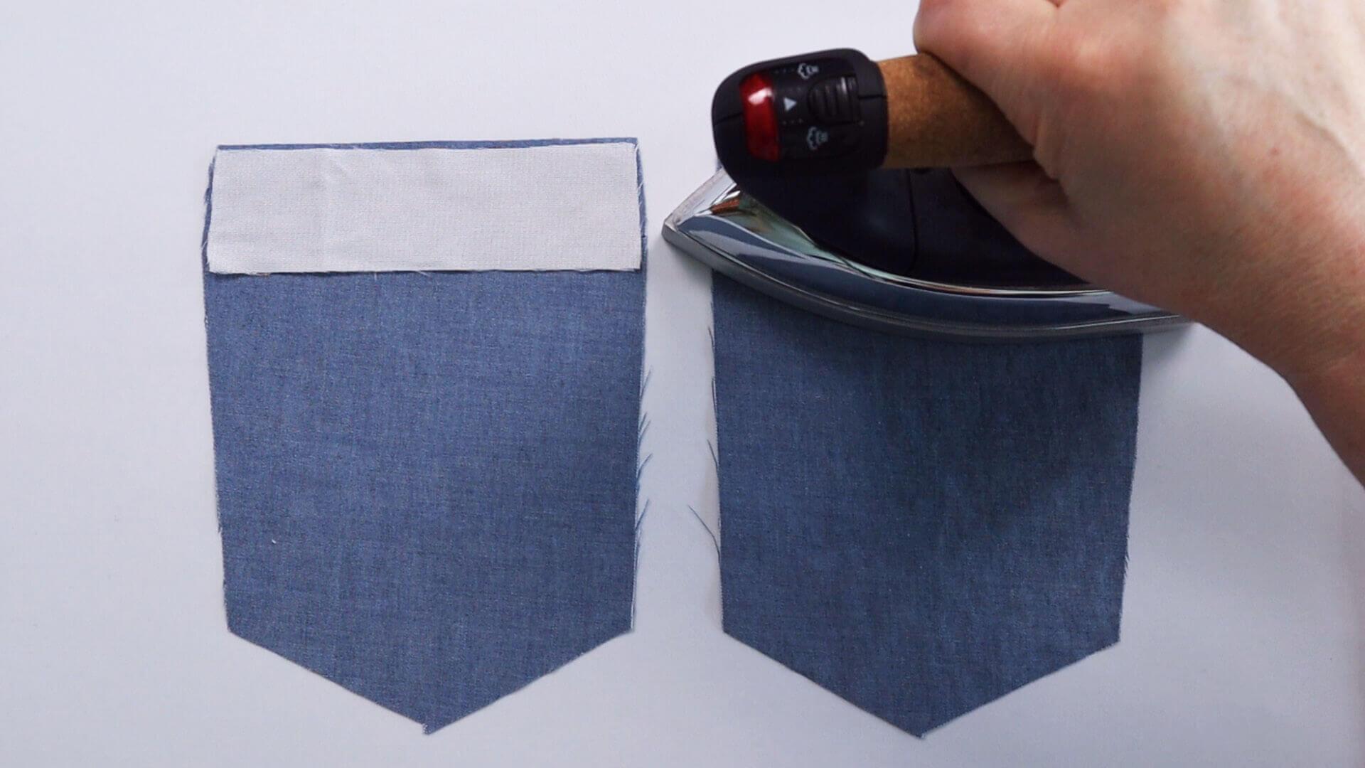aufgesetzte Hosentasche selber nähen- Einlage am Tascheneingriff aufbügeln