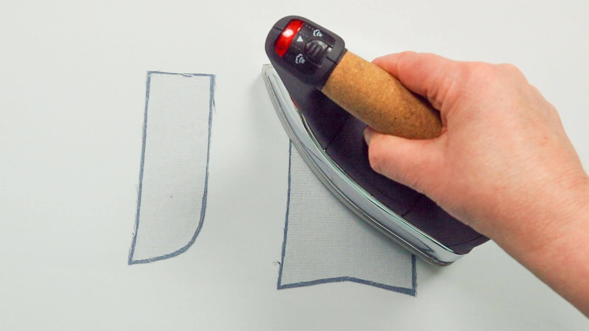 Hosenschlitz mit Reißverschluss selber nähen-Einlage auf Schlitzteile aufbügeln