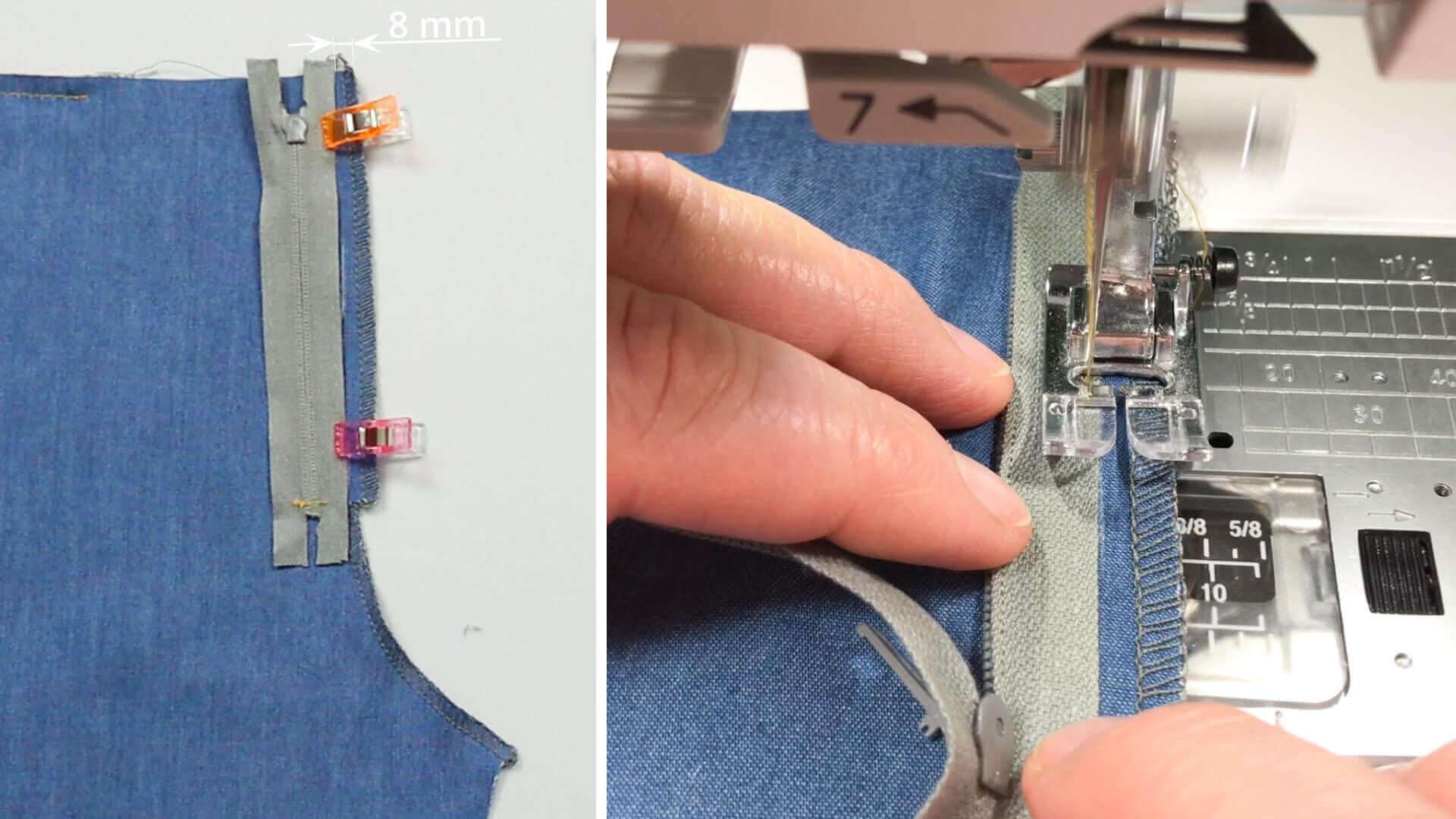 Hosenschlitz mit Reißverschluss selber nähen-RV auf rechtem Vorderteil anlegen und aufsteppen