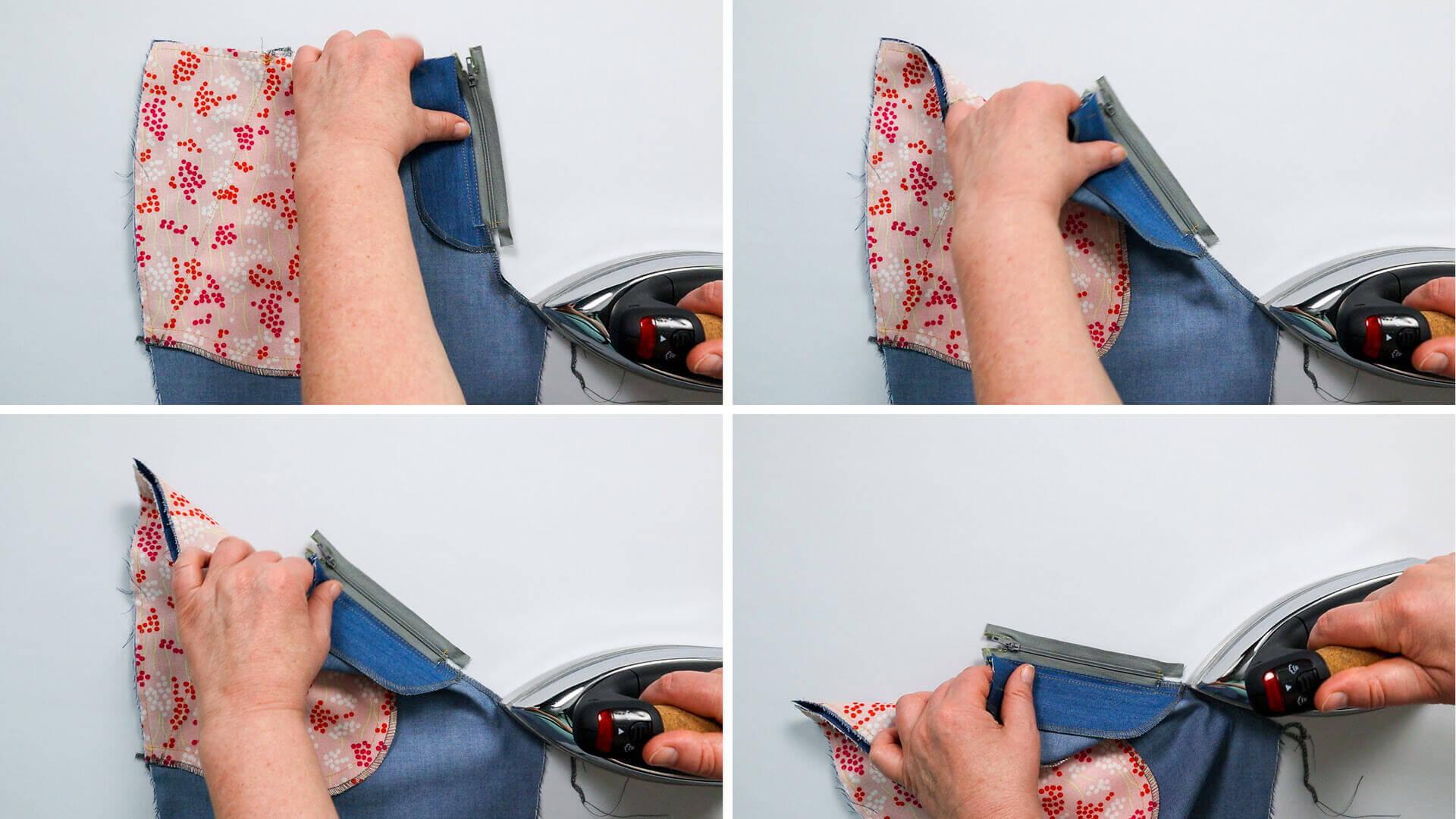 Hosenschlitz mit Reißverschluss selber nähen-Nahtzugabe der Schrittnaht durch Bügeln dehnen