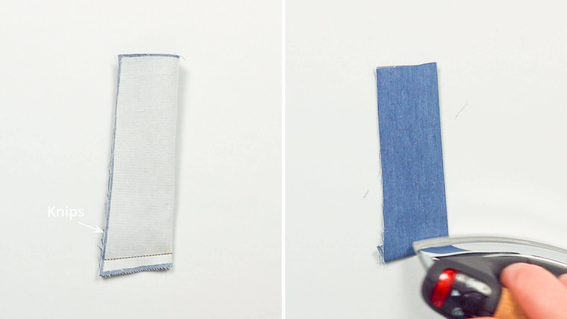 Hosenschlitz mit Reißverschluss selber nähen-Unterkante Schlitzuntertritt verstürzen und wenden