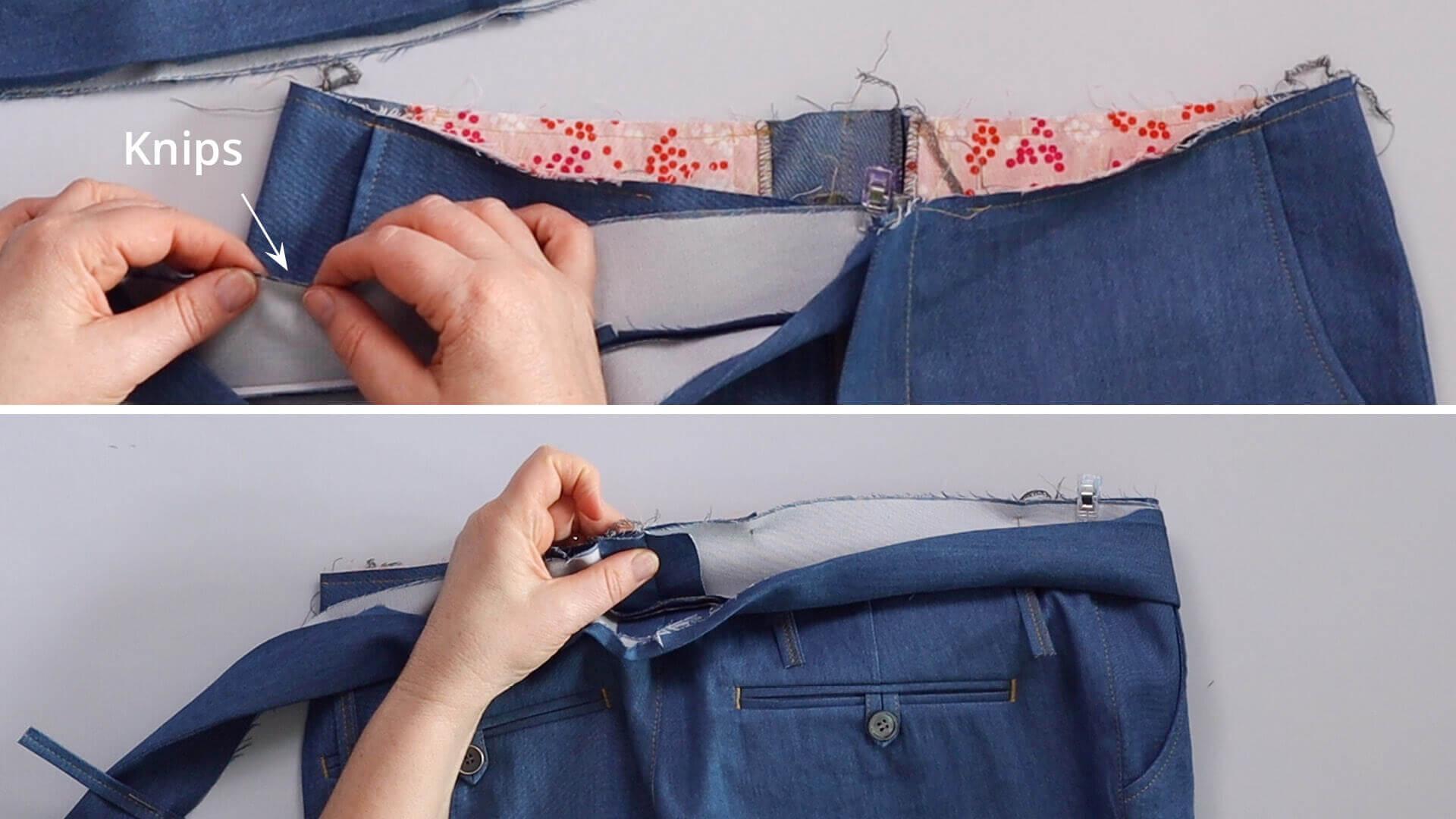 angesetzten Hosenbund #B01 selber nähen-Außenbund rechts auf rechts an Hose feststecken