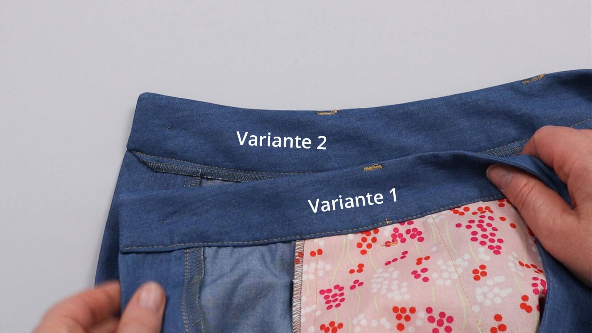 angesetzten Hosenbund #B01 selber nähen-Beispiele zur Verarbeitung der Bundinnenseite