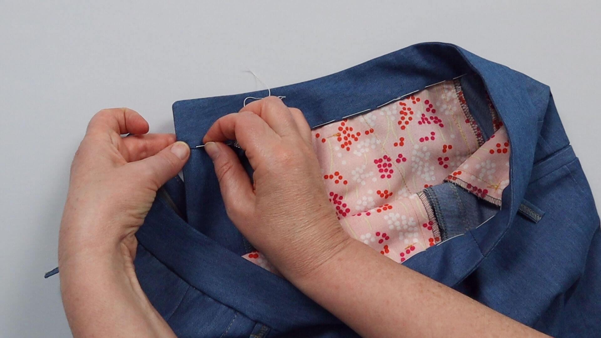 angesetzten Hosenbund #B01 selber nähen- Unterkante des Innenbundes aufhelfen oder feststecken