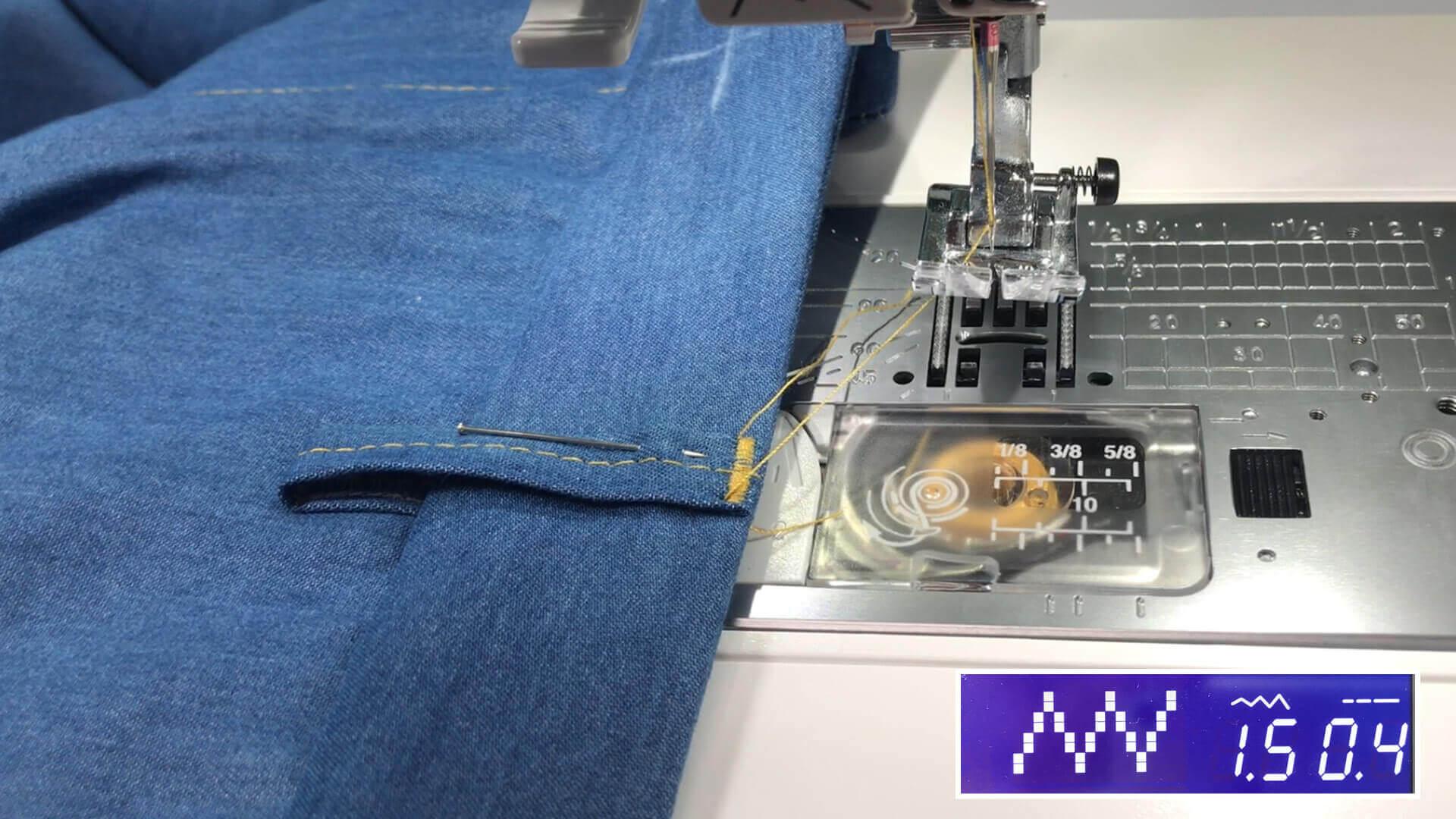 angesetzten Hosenbund #B01 selber nähen- Oberkante der Gürtelschlaufen aufriegeln