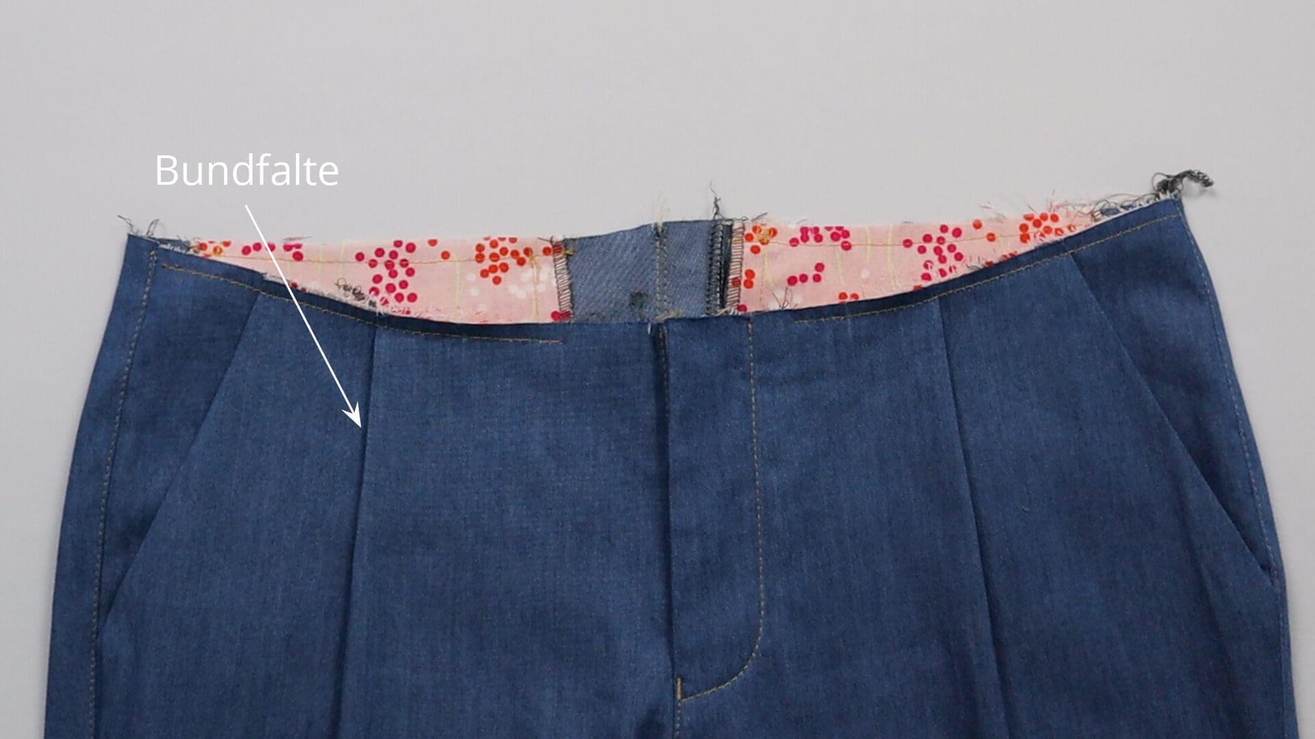 angesetzten Hosenbund #B01 selber nähen-Variante mit Bundfalten
