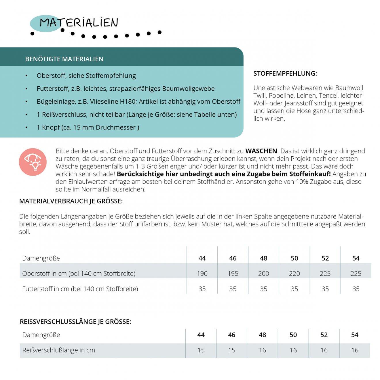 Materialien und Verbräuche zum Schnittmuster Damenhose Chino Gr. 44-54